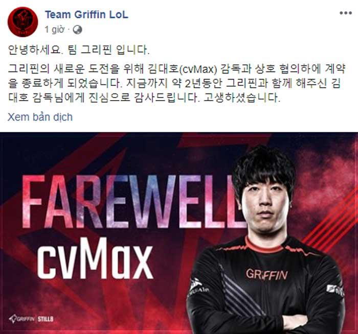 Dòng trạng thái chia tay cvMAx của Griffin