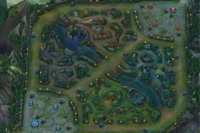 Bản đồ summoner's rift trong LMHT như thế này.