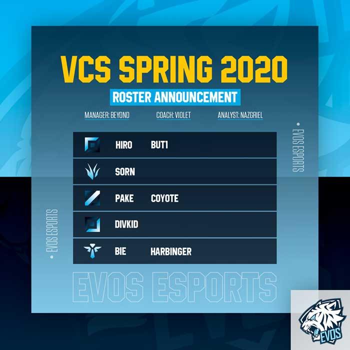 Đội hình Evos VCS 2020