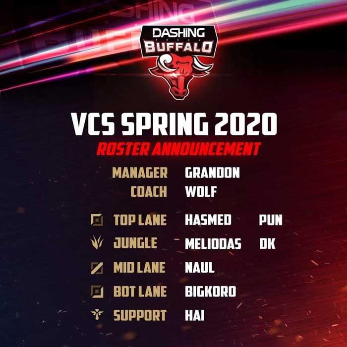 Đội hình Dashing Buffalo VCS 2020